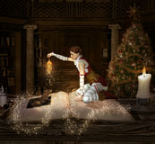 Christmas elf sits on a book with lantern and mouse Royalty Free Stock Photography