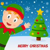 Christmas Elf Smiling and Greeting Card Royalty Free Stock Image