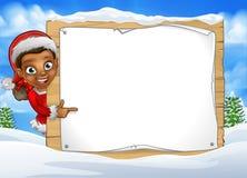 Christmas Elf Snow Scene Landscape Sign Stock Photos