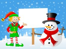 Christmas elf and snowman with sign in his hand. Vector illustration of a christmas elf and snowman with sign in his hand Stock Images