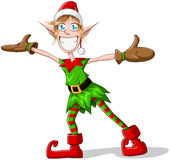 Christmas Elf Spreading Arms And Smiling Royalty Free Stock Photos