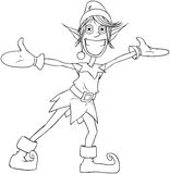 Christmas Elf Spreading Arms And Smiling Coloring. Vector illustration coloring page of a Christmas elf spreading his arms and smiling royalty free illustration