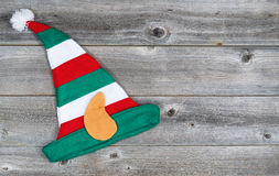 Christmas Elf Stocking on rustic wood Stock Photos