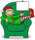 Christmas elf on strike Royalty Free Stock Photos