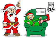 Christmas elf on strike Stock Images