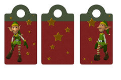 Christmas Elf tags or bookmarks Stock Photography