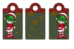 Christmas Elf tags or labels. Isolated on white Vector Illustration