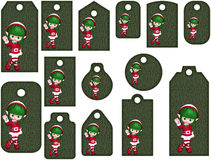 Christmas Elf tags or labels. Isolated on white Stock Illustration