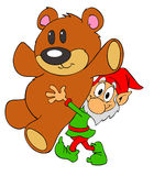 Christmas Elf & Teddy Bear stock illustration