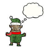 Christmas elf with thought bubble Royalty Free Stock Photos