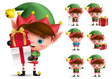 Christmas elf vector character set. Boy elves with green costume holding gifts. And playing isolated in white background. Vector illustration royalty free illustration