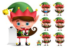 Christmas elf vector character set. Girl elves with green costume holding gifts. And christmas elements while playing isolated in white background. Vector vector illustration