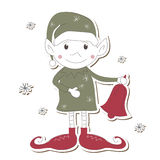Christmas Elf on white background Stock Image