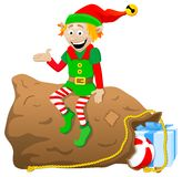Christmas elf on white background Stock Photos