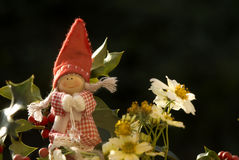 Christmas elf among winter flowers Royalty Free Stock Images
