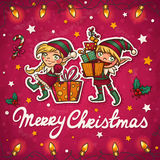 Christmas elfs greeting card Royalty Free Stock Photography