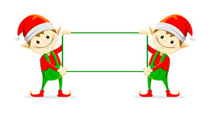 Christmas elfs. Two elf holding sign board in  illustration Stock Image