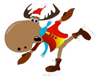 Christmas elk. The Christmas elk not well skates Royalty Free Stock Photography