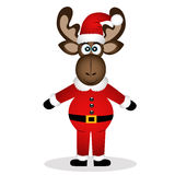 Christmas elk. Christmas moose isolated on white background. Funny moose in a Santa suit. Vector illustration Stock Image