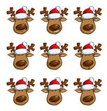 Christmas Elks Expressions. Set of cartoon illustrations of a Christmas elk in 9 expressions. Each pose on a separate layer. Face, nose, hat and each eye are Stock Photos