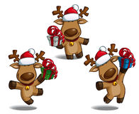 Christmas Elks Holding a Gift Stock Photography