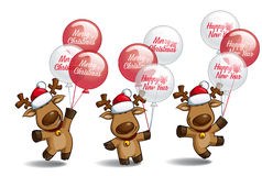 Christmas Elks Holding Holiday Balloons Stock Image