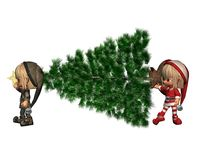 Christmas Elves - bring in the tree Stock Image
