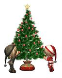 Christmas Elves - decorate the tree Royalty Free Stock Photography