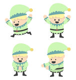 Christmas Elves and different poses Royalty Free Stock Photos