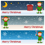 Christmas Elves Horizontal Banners Stock Photos