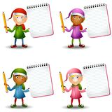 Christmas Elves Notepads vector illustration