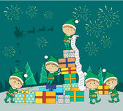 Christmas Elves Packing Presents Gift Boxes Royalty Free Stock Image