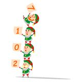 "Christmas elves performing acrobatic. Christmas elves with the inscription ""2017 Royalty Free Stock Photo"