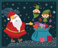 Christmas elves with Santa Royalty Free Stock Photos