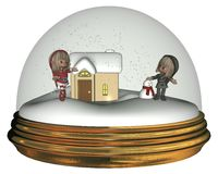 Christmas Elves in a Snowglobe Royalty Free Stock Image