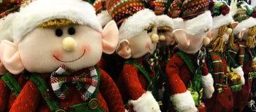 Christmas Elves, Stuffed Dolls, plaid outfits. Crafty rag doll construction stock photos