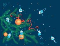Christmas elves. Vector image of the christmas elves on the christmas tree branch vector illustration