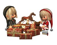 Christmas Elves - wrapping presents Stock Photography