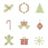 Christmas embroidered elements Royalty Free Stock Photos