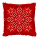 Christmas embroidered pillow Royalty Free Stock Image