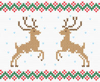 Christmas embroidery deer vector seamless texture. Christmas ornament winter deer. Embroidery, knitting, hosiery. Vector, seamless texture Stock Image