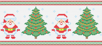 Christmas embroidery vector seamless texture Stock Image