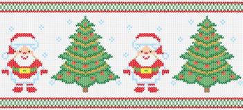 Christmas embroidery vector seamless texture. Christmas winter christmas ornament. Vector, Santa Claus, Christmas tree. Embroidery, knitting, hosiery. Seamless Stock Image