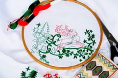 Christmas embroidery. Royalty Free Stock Photo