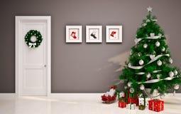 Christmas Empty Interior With Door & Tree Stock Images