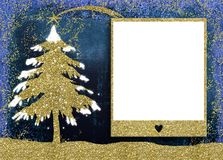 Christmas picture frame cards. Christmas empty photo frame greetings cards, gold glitter Christmas tree and blank picture frame Royalty Free Stock Images