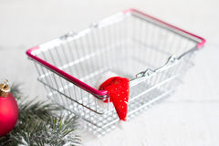 Christmas and empty shopping basket Royalty Free Stock Image