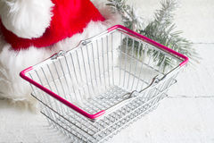 Christmas and empty shopping basket Stock Photo