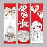 Christmas engaving banners set Stock Images