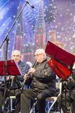 Musicians playing for Christmas, Zagreb, Croatia. Christmas entertainment on the stage at Ban Jelacic Square, Zagreb, Croatia royalty free stock photo